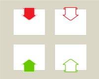 Setas ajustadas com papel para a nota. Ilustração Stock