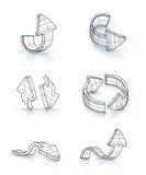Setas ajustadas, desenhando Fotografia de Stock