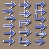 Setas azuis com esboço e sombra brancos Fotografia de Stock