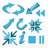 Setas, bala, ícones, sinais Imagens de Stock Royalty Free