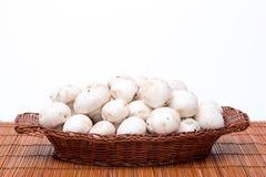 Setas blancas en una cesta aislada en blanco Fotografía de archivo libre de regalías