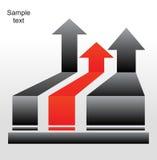 Setas cinzentas e vermelhas ilustração stock