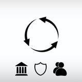 Setas circulares ícone, ilustração do vetor Estilo liso do projeto Fotos de Stock Royalty Free