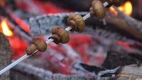 Setas cocinadas sobre parrilla caliente llameante del Bbq almacen de metraje de vídeo