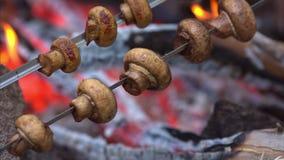 Setas cocinadas sobre parrilla caliente llameante del Bbq metrajes