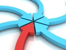 Setas coloridas que apontam a um ponto central no fundo branco Fotografia de Stock