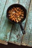 Setas comestibles salvajes Setas del mízcalo fritas en el arrabio  Fotografía de archivo