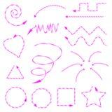 Setas cor-de-rosa tiradas em formulários e em sentidos diferentes Fotografia de Stock