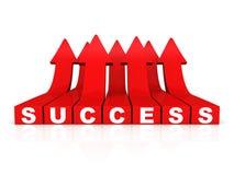 Setas crescentes vermelhas da palavra do sucesso no fundo branco Fotos de Stock