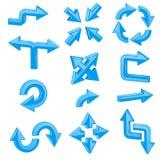 Setas 3d azuis Grupo de sinais brilhantes diferentes da Web Imagem de Stock
