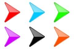 Setas 3d brilhantes coloridas Ícones de vidro da Web ilustração royalty free