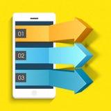 setas 3D infographic com o smartphone para o negócio Foto de Stock Royalty Free