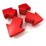 Setas 3D vermelhas que expandem Front View Imagens de Stock