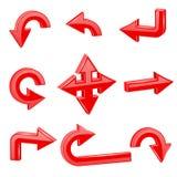 Setas 3d vermelhas Sentidos diferentes ilustração royalty free