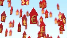 setas de aumentação da moeda da ilustração 3d Imagens de Stock Royalty Free