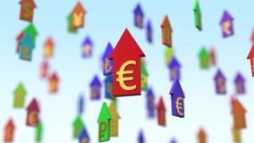 setas de aumentação da moeda da ilustração 3d Imagens de Stock