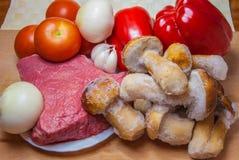 Setas de la paprika de los tomates de la carne de vaca Fotos de archivo