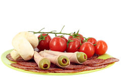 Setas de las aceitunas del salami Imágenes de archivo libres de regalías