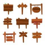 Setas de madeira dos desenhos animados Placas do sinal do vintage e sinais de madeira da seta Grupo isolado do vetor do letreiro ilustração stock