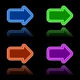 Setas de néon Ilustração Stock