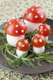 Setas del agárico de mosca del tomate y del huevo Fotos de archivo libres de regalías