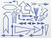 Setas desenhadas mão ajustadas Imagens de Stock Royalty Free