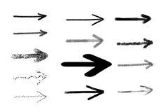 Setas desenhadas mão As setas tiradas mão do vetor ajustaram-se isolado no branco Eps 10 Foto de Stock