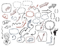 Setas desenhados à mão e grupo da ilustração das bolhas do discurso Imagem de Stock Royalty Free
