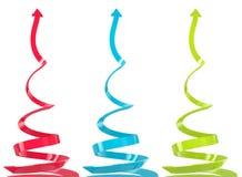 Setas do crescimento espiral ajustadas Fotos de Stock Royalty Free