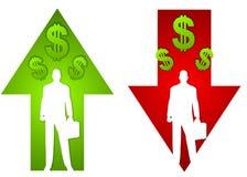 Setas do lucro e da perda de negócio ilustração royalty free