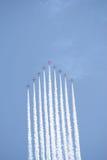 Setas do vermelho do vôo de formação Foto de Stock Royalty Free