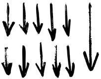 Setas do vetor do Grunge Seque cursos da escova ilustração do vetor