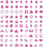 Setas e ícones cor-de-rosa Fotografia de Stock Royalty Free