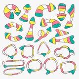 Setas e bolhas coloridas do discurso Foto de Stock