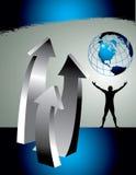 Setas e globo ascendentes Imagem de Stock Royalty Free