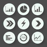Setas e grupo cinzento do ícone do gráfico, projeto liso Ilustração do vetor Imagem de Stock
