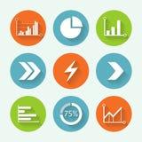 Setas e grupo colorido do ícone do gráfico, projeto liso Ilustração do vetor Fotografia de Stock