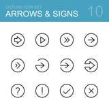Setas e grupo do ícone do esboço do vetor dos sinais Imagem de Stock
