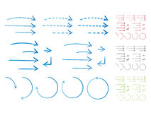 Setas Hand-drawn no estilo da tinta ilustração stock