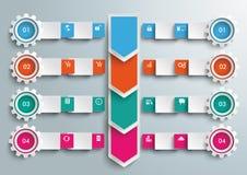 Setas Infographic grande das engrenagens das bandeiras dos retângulos Fotografia de Stock Royalty Free