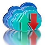 Setas lustrosas azuis da transferência da nuvem e da transferência de arquivo pela rede Fotografia de Stock Royalty Free
