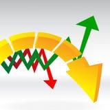 Setas múltiplas no gráfico Fotos de Stock
