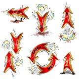 Setas moventes dos desenhos animados Fotografia de Stock
