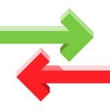Setas paralelas oposto ao conceito Foto de Stock