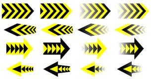 Setas pretas amarelas do vetor jogo Eps 10 Fotos de Stock Royalty Free