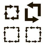 Setas pretas com as voltas para formar quadrados Imagem de Stock Royalty Free