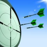 Setas que apontam as mostras do alvo que batem objetivos Foto de Stock
