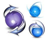 Setas que circundam esferas azuis Fotografia de Stock