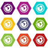 Setas redondas em torno de hexahedron ajustado da cor do ícone do planeta do mundo Imagem de Stock Royalty Free