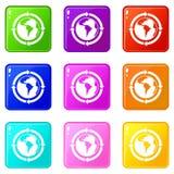 Setas redondas em torno do grupo dos ícones 9 do planeta do mundo Fotografia de Stock Royalty Free